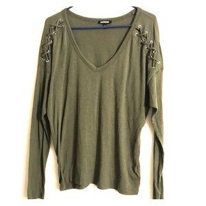 Express Olive Green Criss Cross Shirt